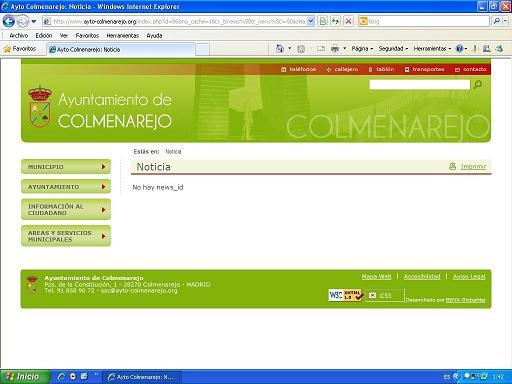 NOTICIA ELIMINADA DE LA WEB MUNICIPAL TRAS LA DENUNCIA DE USO PARTIDISTA PÁGINA WEB AYTO. COLMENAREJO