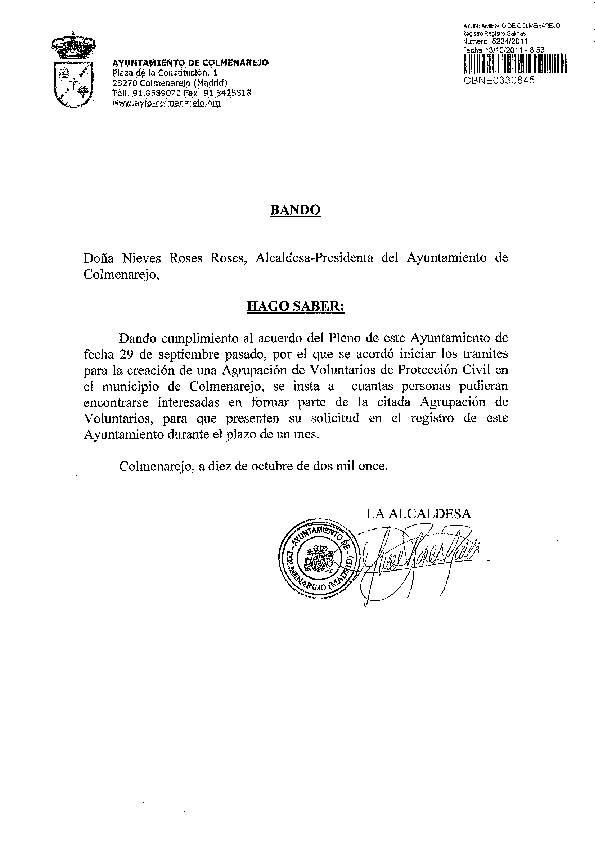Propuesta electoral del Psoe Colmenarejo aprobada: Bando de la Alcaldía solicitando personas voluntarias para la creación de la Agrupación de Protección Civil de Colmenarejo