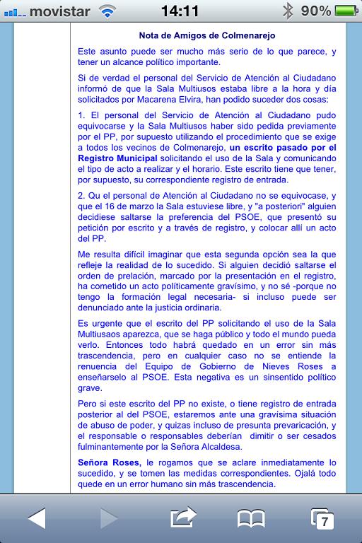 PRIMERAS REACCIONES A LA NOTA PRENSA GRUPO MUNICIPAL SOCIALISTA COLMENAREJO