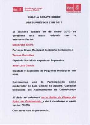 CHARLA DEBATE SOBRE PRESUPUESTOS E IBI 2013