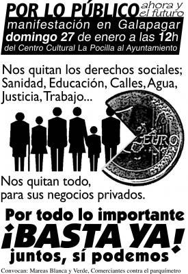 """""""Nos adherimos a la Manifestación del domingo 27 en Galapagar para defender lo que es de tod@s"""". Participa!"""