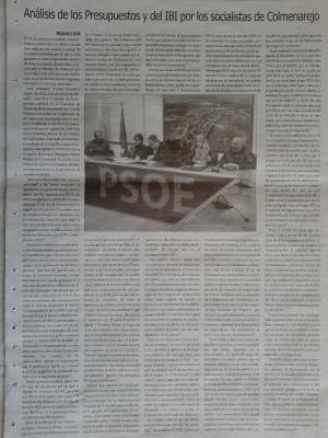 PSOE COLMENAREJO EN EL PERIÓDICO LA INFORMACIÓN FEBRERO 2.013