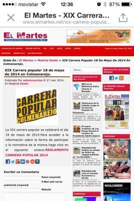 PP #Colmenarejo cambia la fecha de la Carrera Popular Colmenarejo del 6 Abril al 18 Mayo 2.014